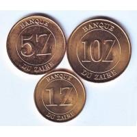 Набор монет Заира (3 штуки). 1987-88 гг, Заир.