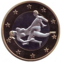 6 эросов (Sex euros). Сувенирный жетон. (Вар. 24)