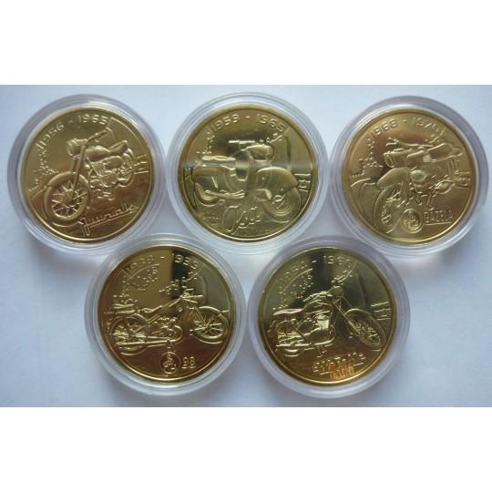 Набор монетовидных жетонов 5 шт мотоциклы
