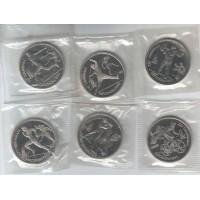 Олимпиада в Барселоне. Набор монет номиналом 1 рубль (6 штук), 1991 год (В запайке)